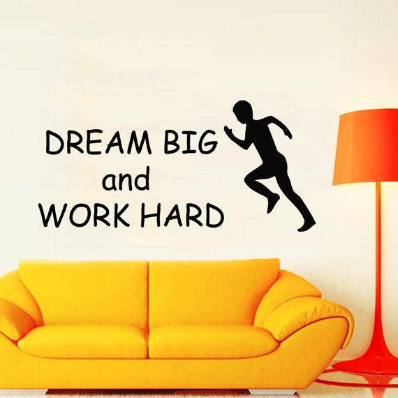 Shop Quotes Runner Dream Big Work Hard Gym Wall Decor Home Decor ...