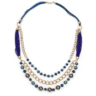 Liliana Bella Gold-plated With Blue and Grey Stones Multi-strand Necklace