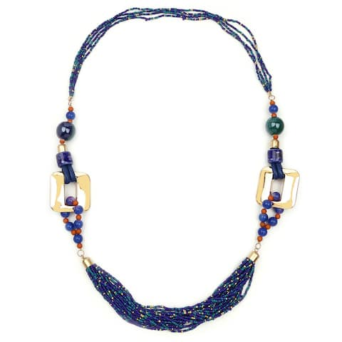 Liliana Bella Gold Plated Blue Stone Strand Necklace