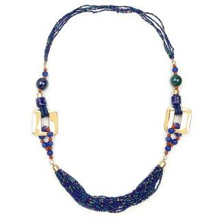 Liliana Bella Gold Plated Blue Stone Strand Necklace