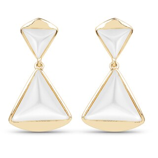 Liliana Bella Statement Gold-plated White Stone Dangle Earrings