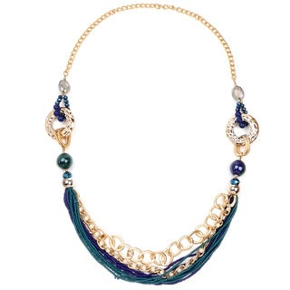 Liliana Bella Goldplated Blue Stone Link Necklace