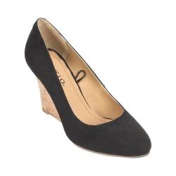 Women's Rialto Celina Cork Wedge Black Suedette/Synthetic