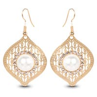 Liliana Bella Gold-plated White Pearl and Crystal Dangle Earrings