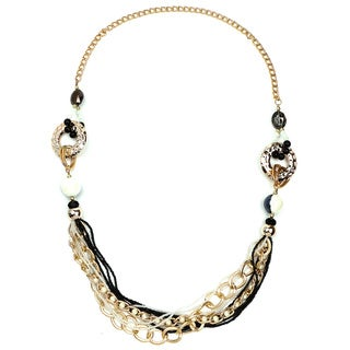 Liliana Bella Goldplated Black Beads and White Pearl Link Necklace
