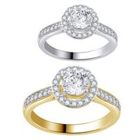 Divina 14k White and Yellow Gold 1ct TDW Diamond Halo Engagement Ring .