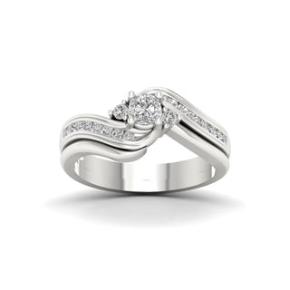 De Couer 14k White Gold 1/2ct TDW Diamond Three Stone Swirl Bridal Set