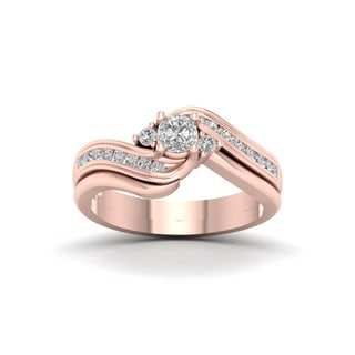 De Couer 14k Rose Gold 1/2ct TDW Diamond Three Stone Swirl Bridal Set - Pink