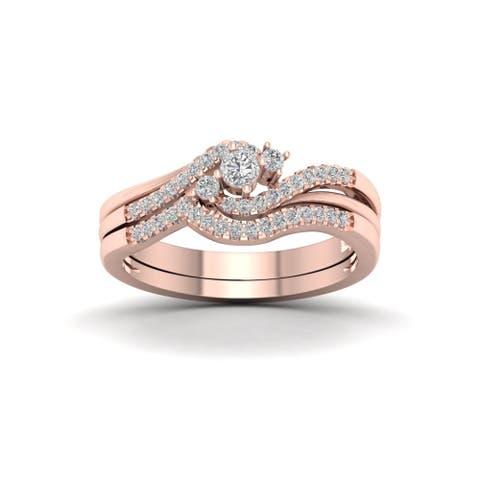 De Couer IGI Certified 10k Rose Gold 1/3ct TDW Diamond Bypass Bridal Set - Pink