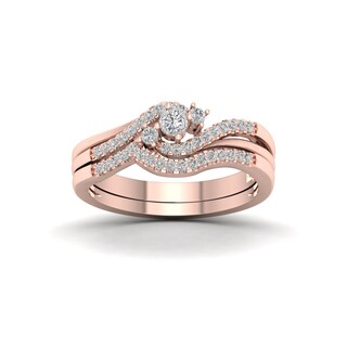 De Couer 10k Rose Gold 1/3ct TDW Diamond Bypass Bridal Set (H-I, I2)
