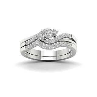 De Couer 10k White Gold 1/3ct TDW Diamond Bypass Bridal Set
