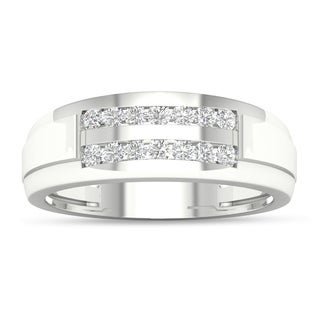 De Couer 10k White Gold 1/4 ct TDW Diamond Men's Wedding Band (H-I, I2)