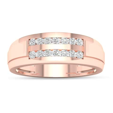 De Couer 10k Rose Gold 1/4 ct TDW Diamond Men's Wedding Band