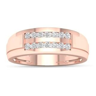 De Couer 10k Rose Gold 1/4 ct TDW Diamond Men's Wedding Band - Pink