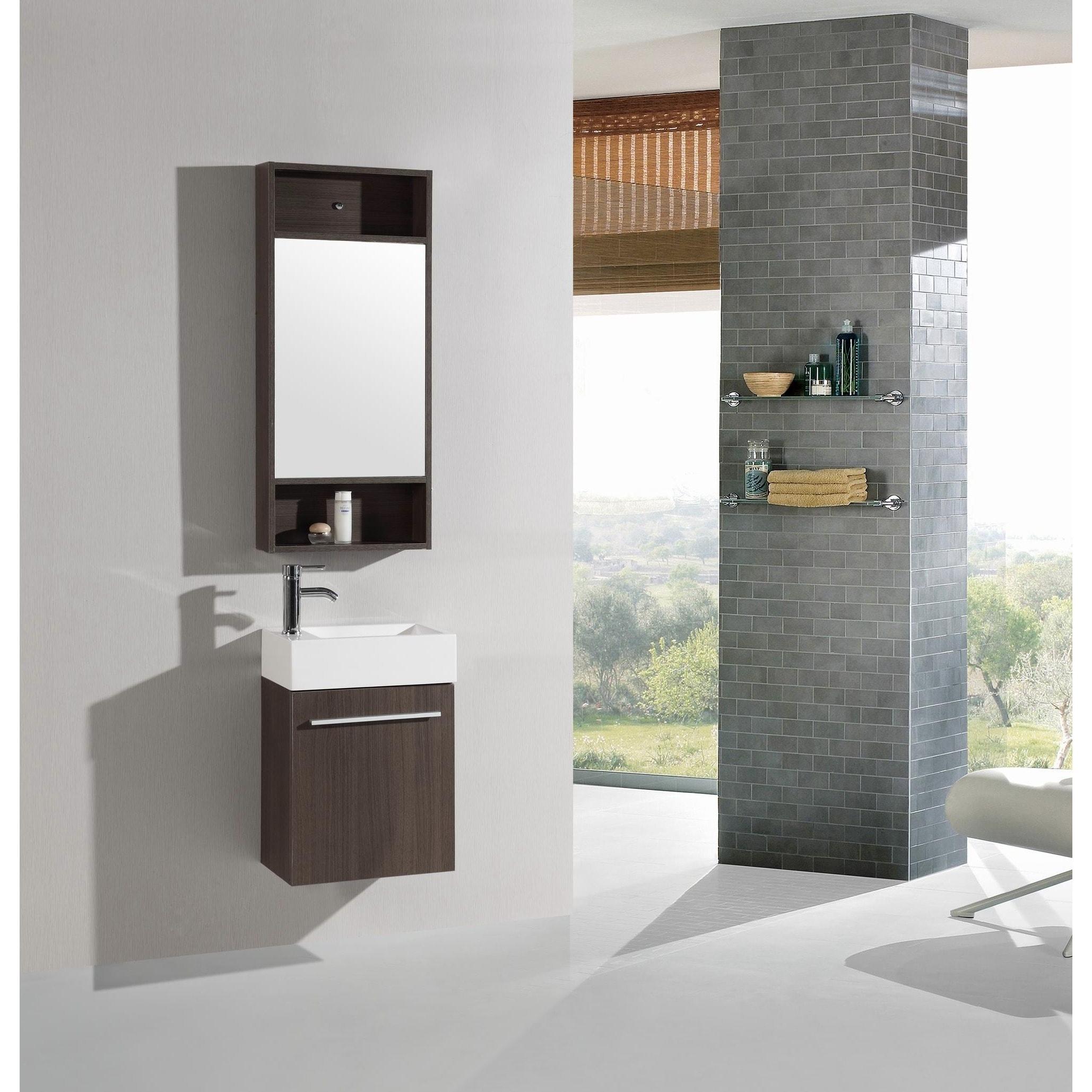 Shop 18 Inch Belvedere Modern Wall Mounted Espresso Bathroom