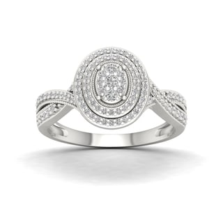 De Couer 10k White Gold 1/3ct TDW Diamond Cluster Halo Engagement Ring