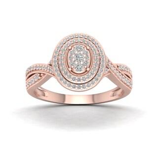De Couer 10k Rose Gold 1/3ct TDW Diamond Cluster Halo Engagement Ring - Pink