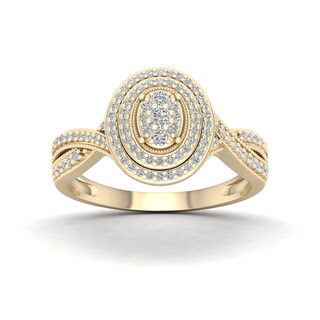 De Couer 10k Yellow Gold 1/3ct TDW Diamond Cluster Halo Engagement Ring