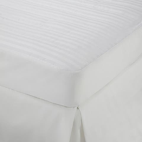 Martex Damask Stripe Mattress Pad - White