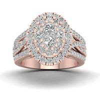 De Couer 14k Rose Gold 1 3/4ct TDW Diamond Cluster Halo Engagement Ring - Pink