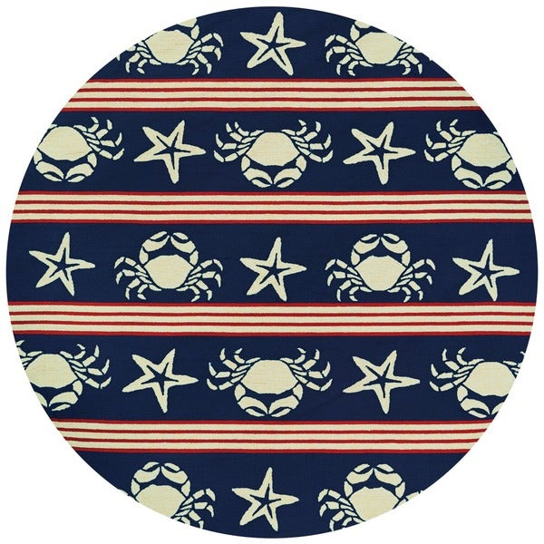 Blue And White Circle Rug: Shop Outdoor Escape Blue Claws Red-White-Navy Round Indoor