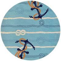 Couristan Outdoor Escape Ocean Blue Anchorbend Round Indoor/Outdoor Rug - 7'10 x 7'10