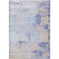 Watercolors Azure Blue/ Multi color Hand knotted Area Rug - 2' x 4'