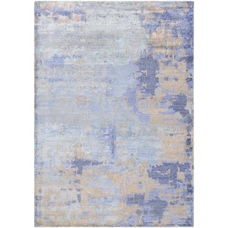 Watercolors Azure Blue/ Multi color Hand knotted Indoor Area Rug - 5'6 x 8'