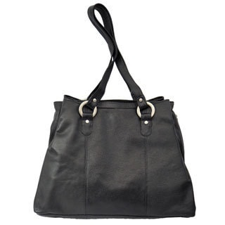 Piel Leather Three Compartment Tote Bag