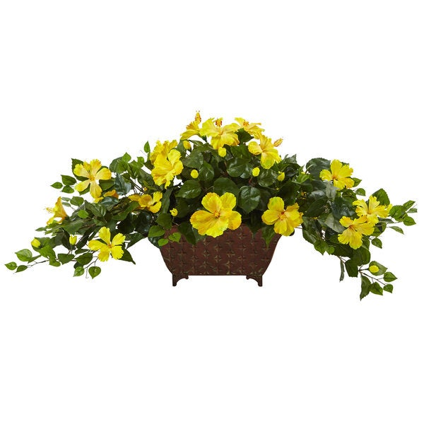 Nearly Natural Green/Yellow Artificial Hibiscus in Metal Planter