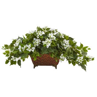 Nearly Natural White Bougainvillea in Metal Planter