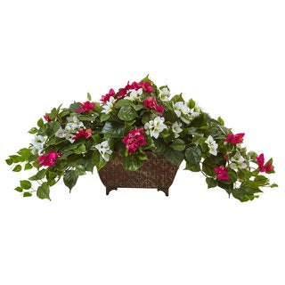 Nearly Natural Beauty White Bougainvillea in Metal Planter