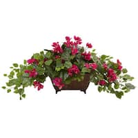 Nearly Natural Beauty Bougainvillea in Metal Planter