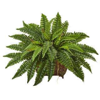 Nearly Natural Green 23-inch Boston Fern in Metallic Planter