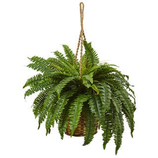 Nearly Natural Boston Fern 29-inch High Hanging Basket