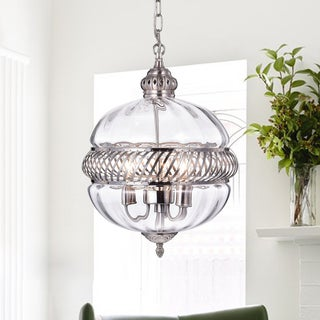 Permin 13-inch Clear Glass Globe with Metal Accents Pendant Light