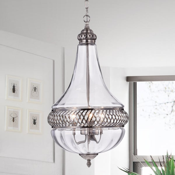 Permin Empire 13 Inch Clear Glass And Metal Pendant Light