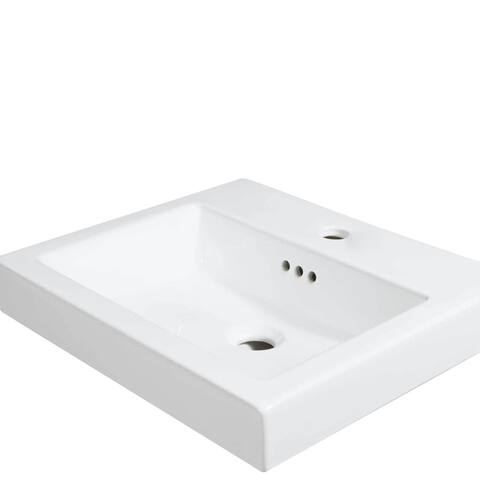 19-inch Marion Single Faucet Hole White Ceramic Rectangular Sinktop