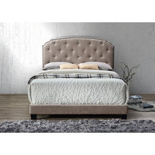 DG Casa Wembley Brown Wood and Fabric Queen Bed