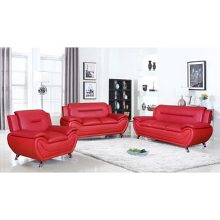 Deliah Relaxing Contemporary Modern Style 3pc Sofa Set 3 Colors (Option: Red )