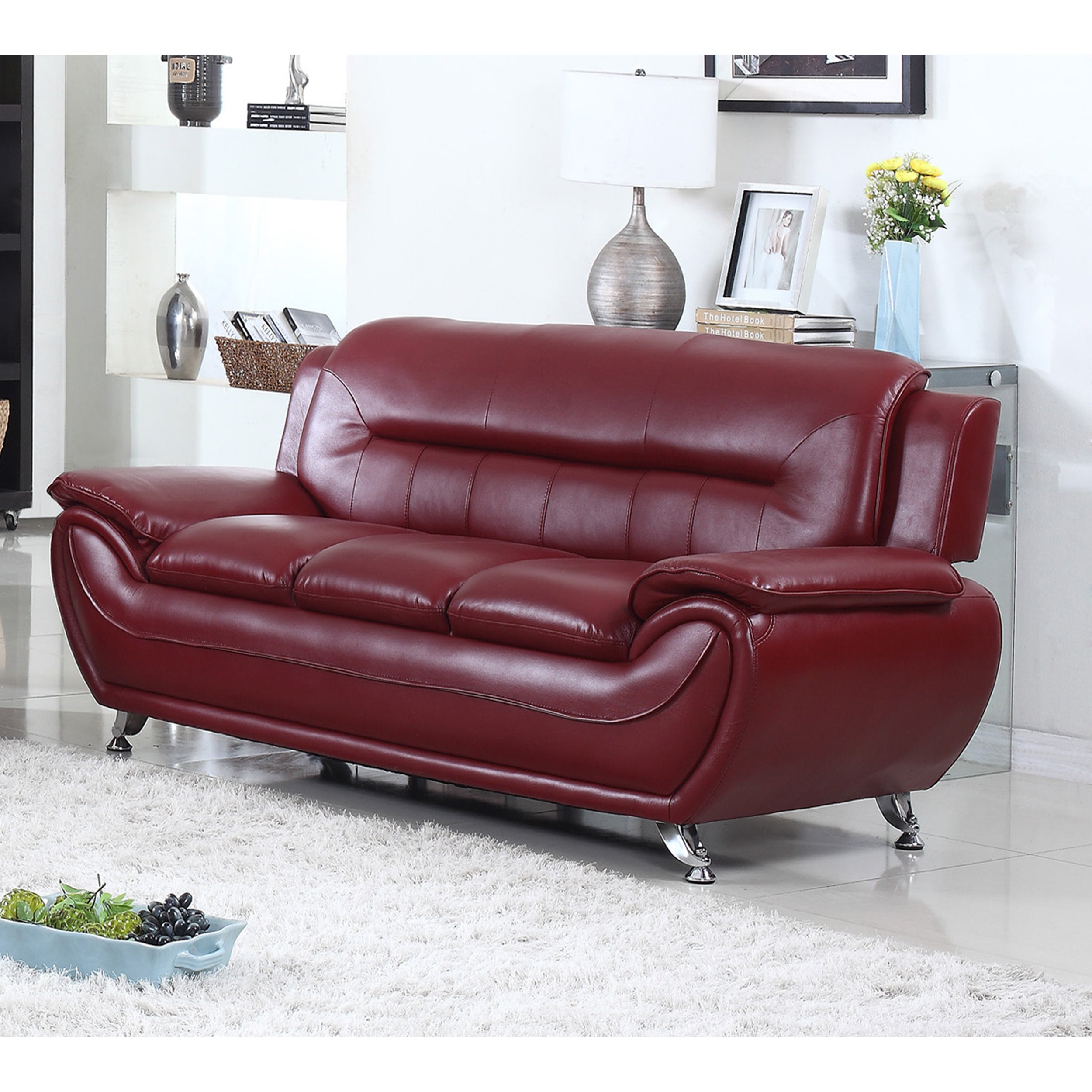 Deliah Modern Contemporary Faux Leather Sofa-3 Colors
