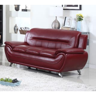 deliah modern contemporary faux leather sofa 3 colors - Red Sofa