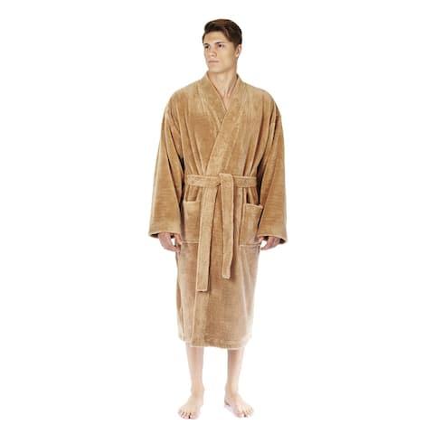 Men's Turkish Fleece Soft Plush Kimono-style Bathrobe