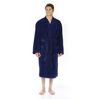 Men's Turkish Fleece Soft Plush Kimono-style Bathrobe