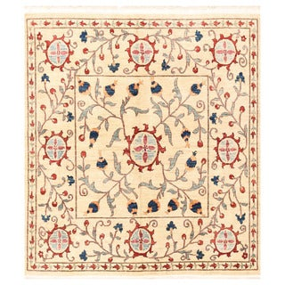 Herat Oriental Afghan Hand-knotted Vegetable Dye Suzani Wool Rug (6'4 x 6'11)