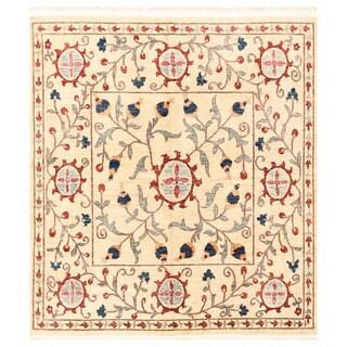 Handmade Herat Oriental Afghan Vegetable Dye Suzani Wool Rug - 6'4 x 6'11 (Afghanistan)