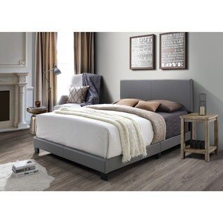DG Casa Kelly Grey Faux Leather Queen Bed