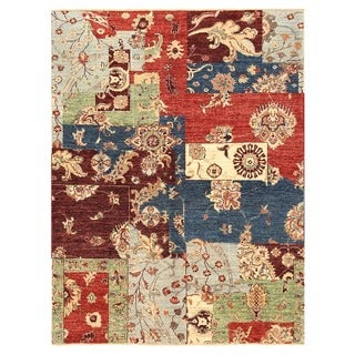 Herat Oriental Afghan Hand-knotted Vegetable Dye Patch Design Wool Rug (4'11 x 6'6)