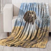 Dog Wildlife Faux Fur Printed Mink Throw