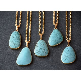 "Mint Jules Turquoise Stone Tear Drop With 24k Gold Overlay Pendant Necklace 22"" - 24"" Adjustable"